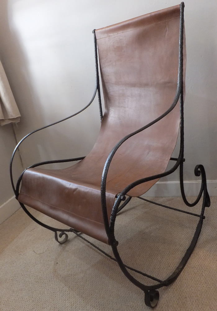 Victorian Steel And Leather Rocking Chair