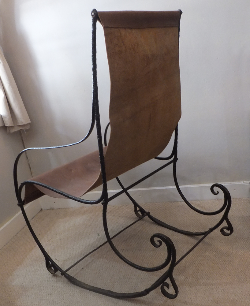 Victorian Steel and Leather Rocking Chair - Chairs, Settles