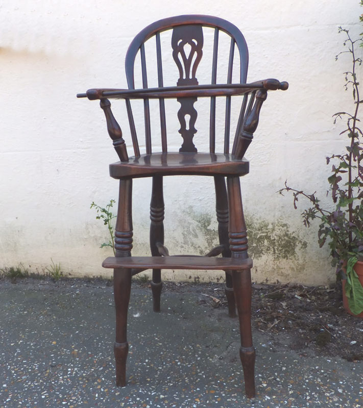 Antique Yew Wood Child's High Chair - Antique Yew Wood Child's High Chair -  Chairs, - Antique Childs High Chair Antique Furniture