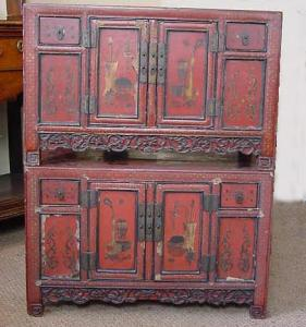 Chinese lacquered cupboards - £1,250