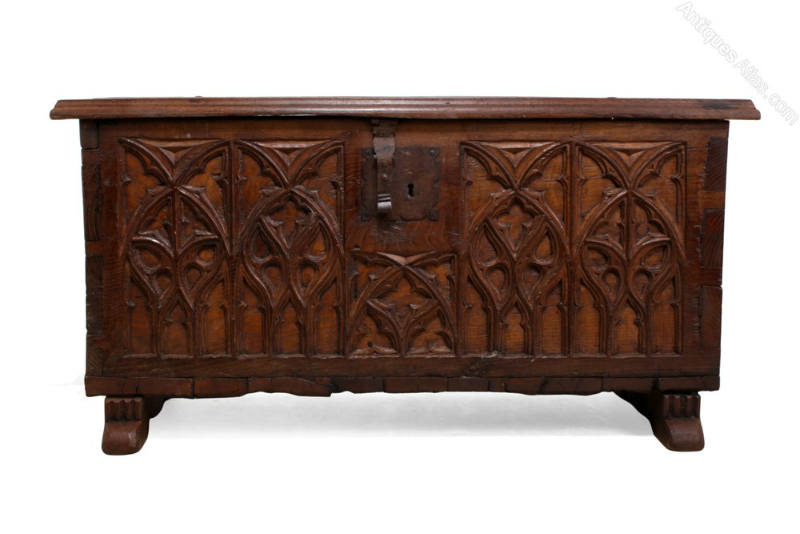 Early French Chest with Gothic tracery front. - PoA