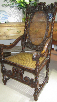 Fine 17c Walut and cane armchair. - £875
