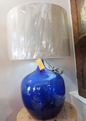 Huge blue blown glass lamp - £195