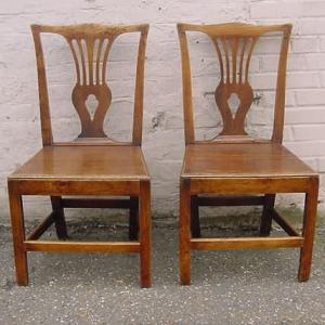 Pair of country Chippendale chairs - £220