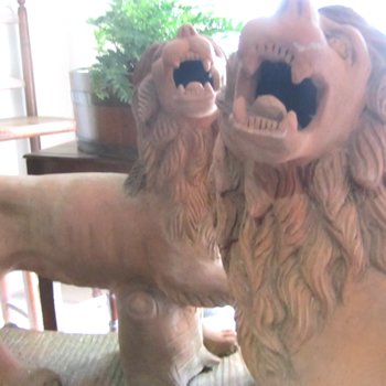 Pair of Terracotta statues of rampant lions - £1,450