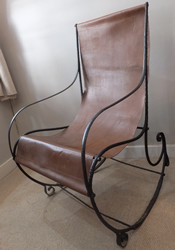 Victorian Steel and Leather Rocking Chair - £275